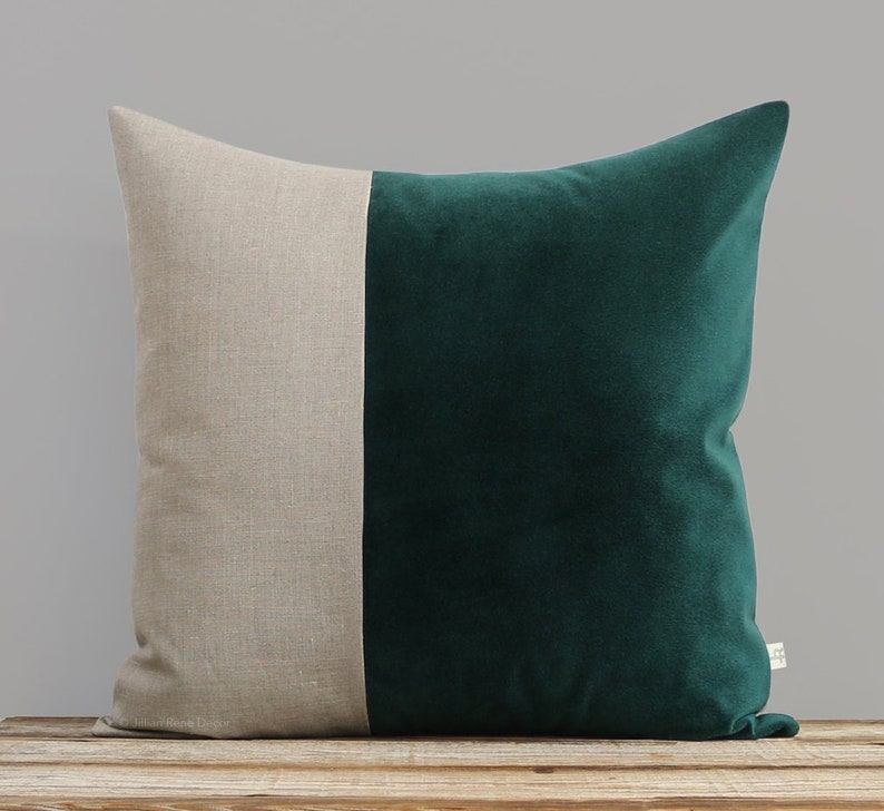 Velvet Colorblock Pillow Cover in Lagoon and Natural Linen by image 0