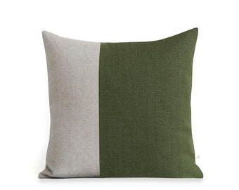 Olive Green Two Tone Pillow Cover (18x18)