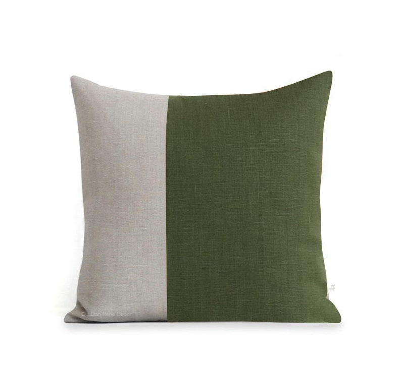 Olive Green Two Tone Pillow Cover 18x18 image 0