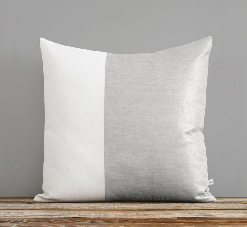 Metallic Silver Pillow Two Tone Colorblock Pillow Cover image 0