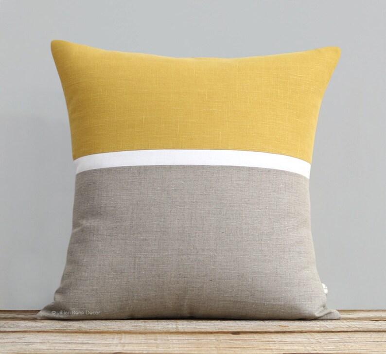 Horizon Line Pillow Cover in Squash Yellow Cream & Natural image 0