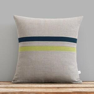 Cream /& Natural Linen Stripes by JillianReneDecor Horizon Line Pillow Cover in Linden Green Modern Home Decor Fall Pantone Golden Lime