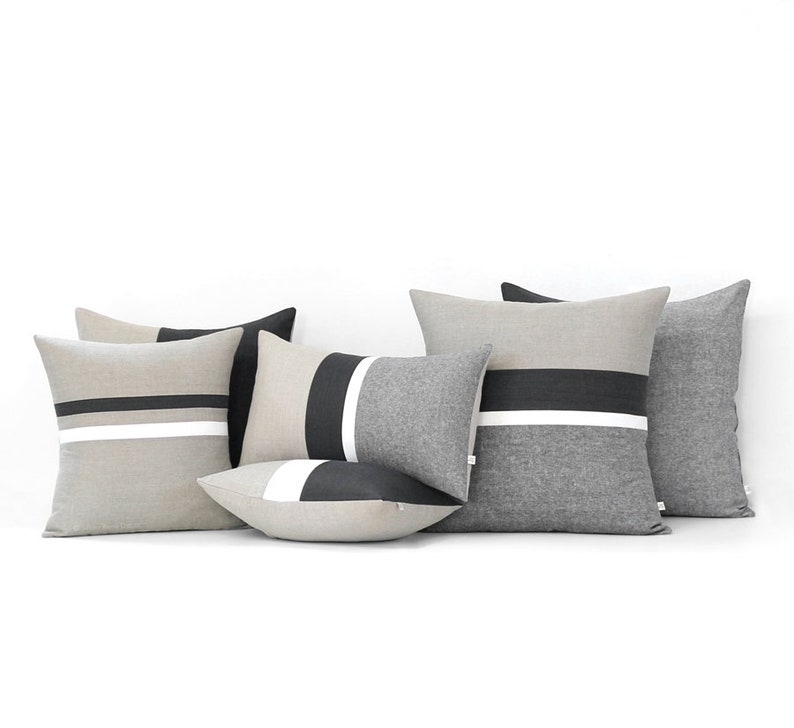 Black Striped Linen Pillow Cover Set of 6  Decorative Pillows image 0