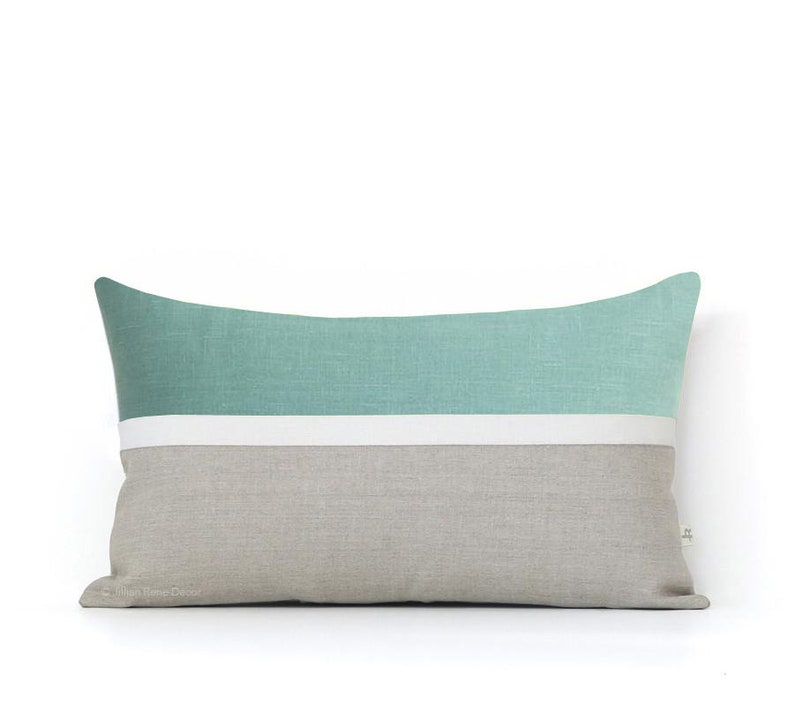 12x20 Horizon Line Pillow Cover in Aqua Cream & Natural Linen 12x20 inches