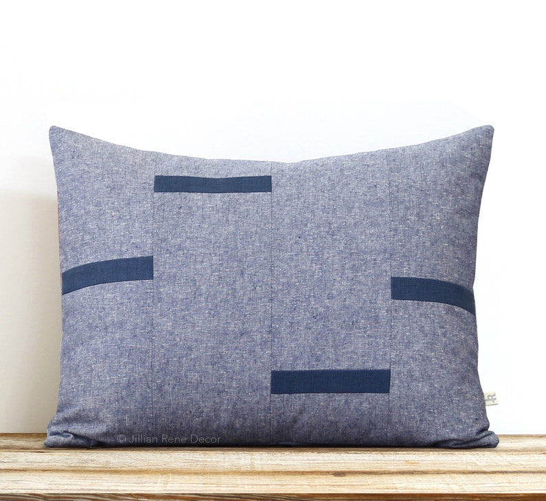 Navy Chambray Dash Pillow Cover NEW Interconnection Pillows image 0