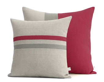 Marsala and Grey Pillow Cover Set of 2 - Striped Pillow (16x16) - Colorblock Pillow (20x20) by JillianReneDecor - Pantone 2015 - FW2015
