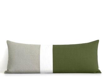 Olive Colorblock Pillow Cover, Bedding, 14x35 Lumbar Pillow, Decorative Pillows by JillianReneDecor, Extra Long Color Block, Green Pillow