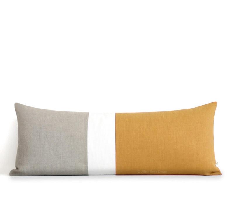 14x35 Marigold Colorblock Pillow Cover Bedding Lumbar Pillow image 0