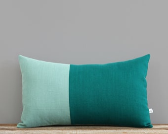 Teal Two Tone Pillow Cover, Monochromatic Colorblock Pillow Cover by JillianReneDecor, Minimal, Scandinavian Inspired, Aqua and Biscay