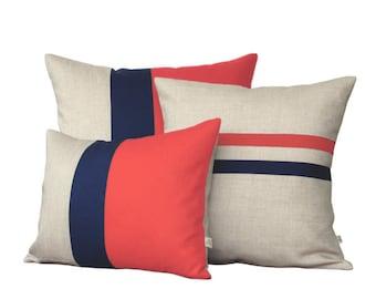 Colorblock Stripe Pillow Set - Coral & Navy Striped Pillow and Color Block Pillow Set by JillianReneDecor (Set of 3)