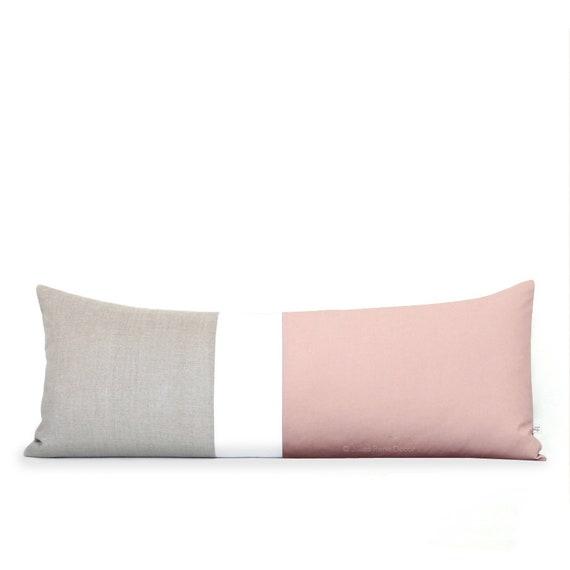 40x40 Blush Colorblock Pillow Cover Lumbar Pillow Bedding Etsy Delectable Extra Long Decorative Lumbar Pillow