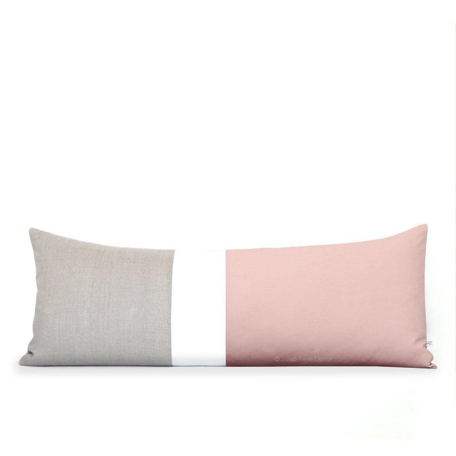 . 14x35 Blush Colorblock Pillow Cover  Lumbar Pillow  Bedding  Decorative  Pillows by JillianReneDecor  Pink Bolster  Extra Long Color Block