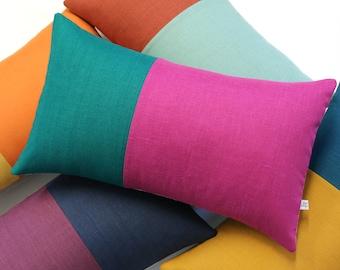 LIMITED EDITION Multicolor Two Tone Colorblock Pillow Cover (Custom Colors) by JillianReneDecor, Minimal, Modern, Scandinavian, Retro