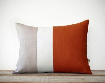 Burnt Orange & Cream Pillow Cover - Colorblock - Modern Home Decor by JillianReneDecor | Minimal | Linen | Color Block | Fall
