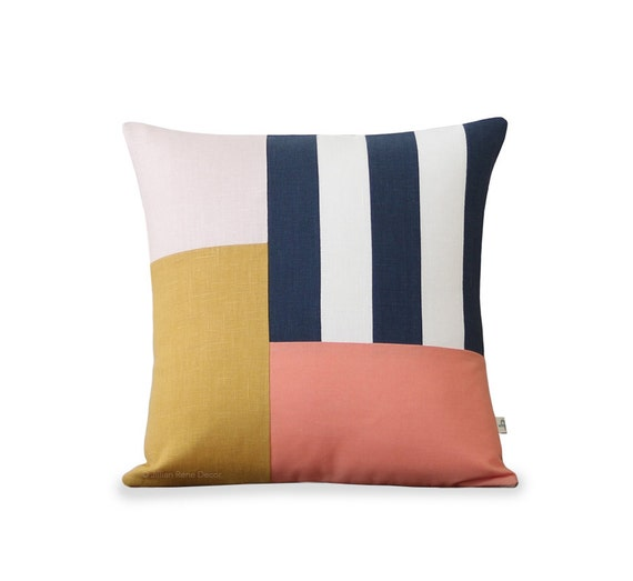 Graphic Grid Pillow Cover In Navy Cream Peach Yellow Pale Etsy