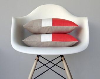 Coral Color Block Pillow (Set of 2) Modern Home Decor by JillianReneDecor | Minimal | Linen Colorblock Pillow | Salmon | Decorative Pillows