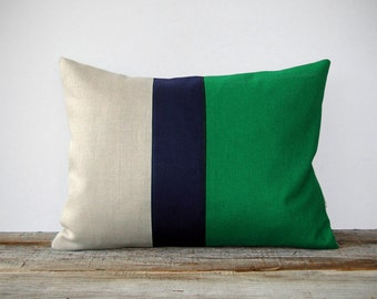 Color Block Stripe Pillow in Kelly Green, Navy and Linen by JillianReneDecor Emerald Green Decorative Pillow - As seen on Apartment Therapy