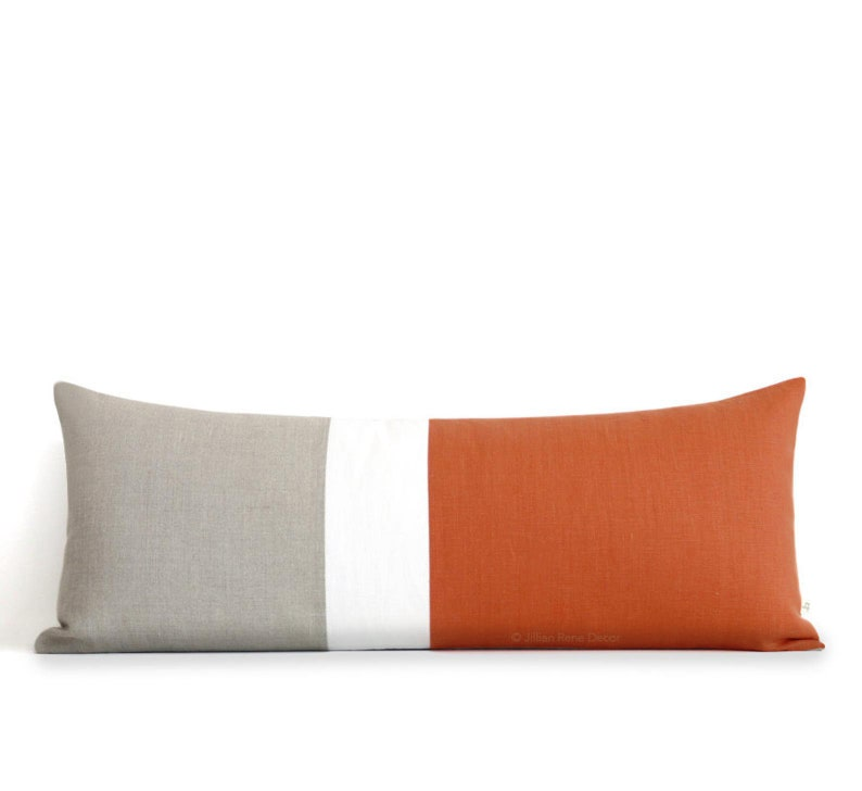 14x35 Burnt Orange Colorblock Pillow Cover Lumbar Pillow image 0