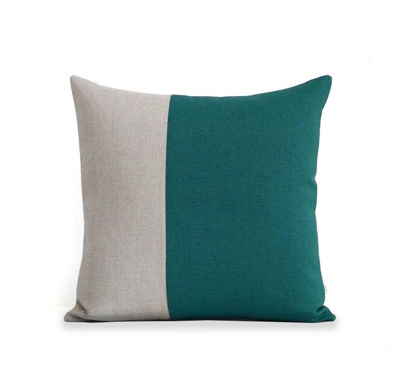 Minimal Linen Pillow Cover in Biscay and Natural Linen by image 0