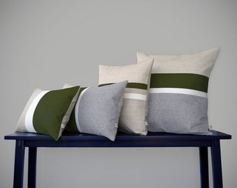 Olive & Chambray Pillow Cover Set of 4 - Modern Home Decor by JillianReneDecor - Colorblock - Color Block - Stripes - Dark Green, Cypress