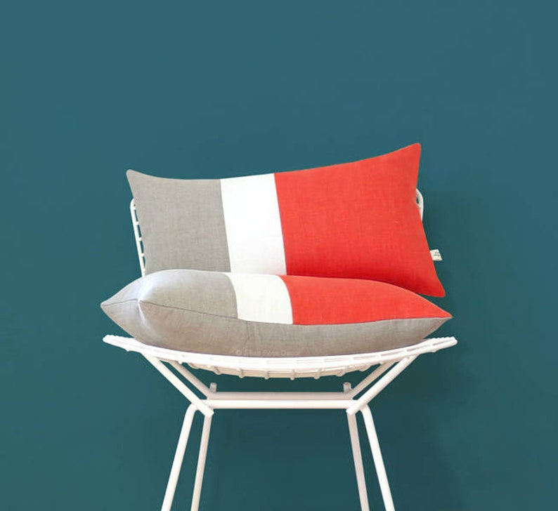 Coral Colorblock Cushion Cover with Cream Stripe Set of 2 by image 0