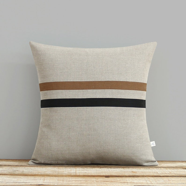 Striped Linen Pillow Cover  Caramel Black and Natural 16x16 image 0