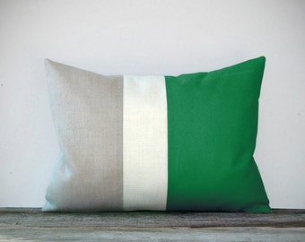 Emerald Green Colorblock Pillow Cover with Cream and Natural Linen Stripes by JillianReneDecor Modern Home Decor Color-block Kelly Green