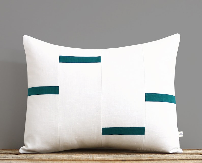Cream and Biscay Dash Pillow Cover NEW Interconnection image 0