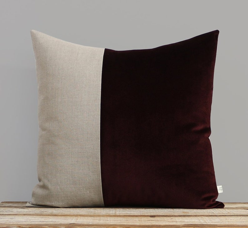 Velvet Colorblock Pillow Cover in Eggplant and Natural Linen image 0