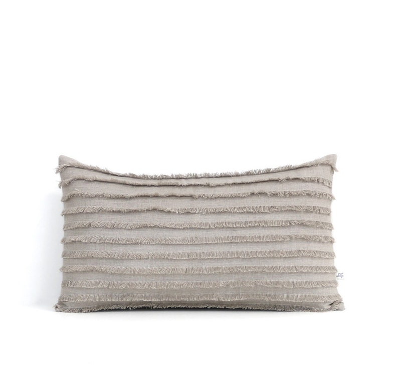 Layered Fringe Pillow Cover 12x20 Cushion Cover Decorative Natural