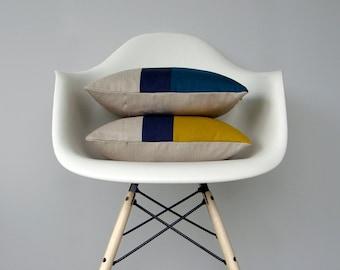 CUSTOM Color Block Pillow (Set of 2) | Original 12x16 Design by JillianReneDecor | Modern Home Decor | Mustard Yellow | Teal | Colorblock