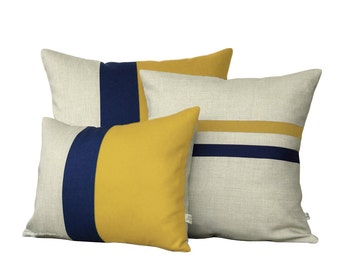 Mustard Yellow Pillow Cover Set - Color Block and Striped Pillows by JillianReneDecor (Set of 3) - Yellow and Navy - Colorblock Pillow Trio