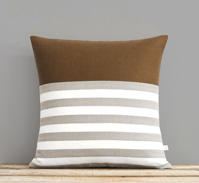 Caramel Bretton Stripe Pillow Cover with Cream and Natural image 0