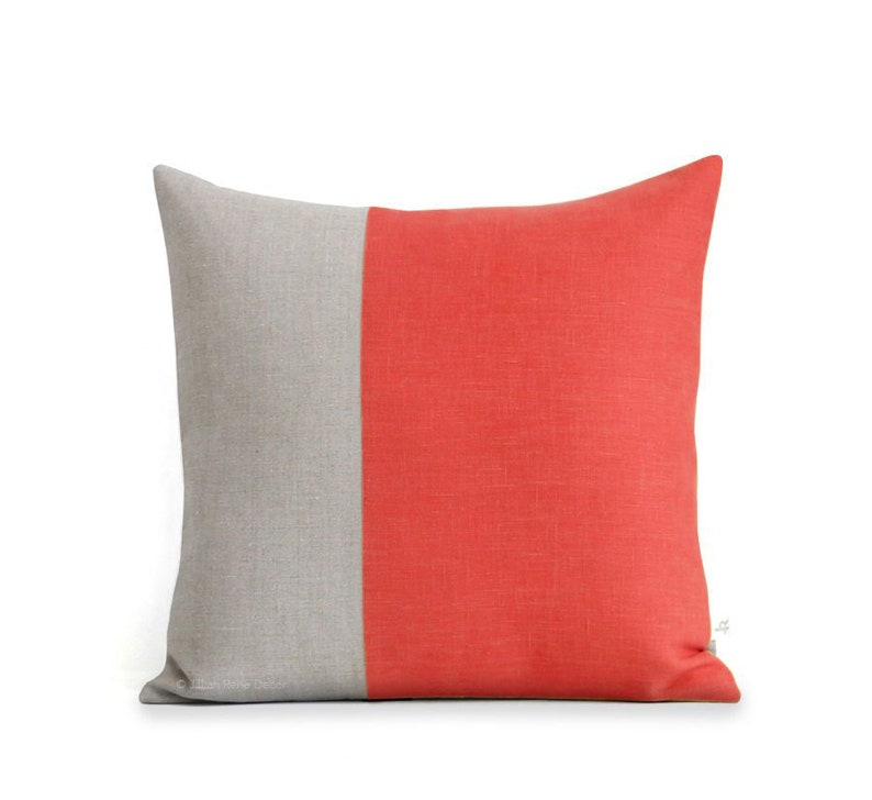 Minimal Linen Pillow Cover in Coral and Natural Linen 18x18 image 0