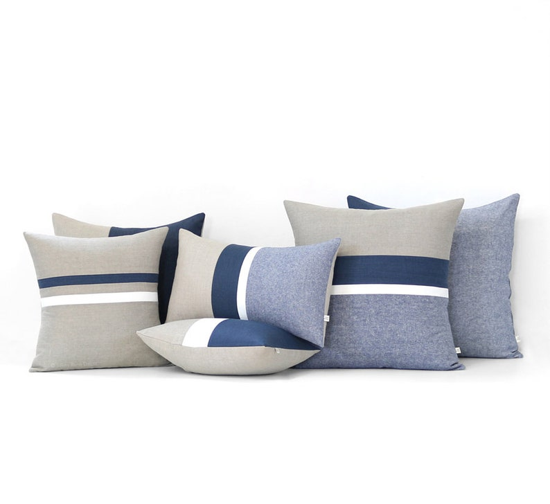 Navy Striped Linen Pillow Cover Set of 6  Decorative Pillows image 0