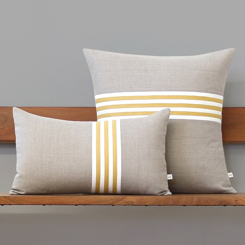 Yellow Banded Stripe Pillow Cover with Cream and Natural Linen image 0