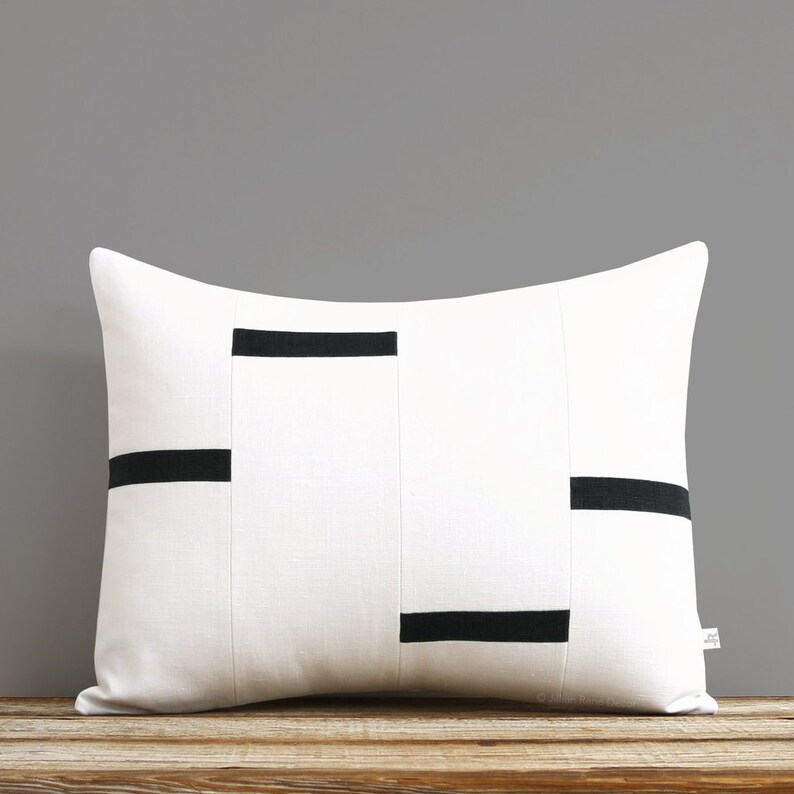NEW Interconnection Pillows Cream and Black Dash Pillow Cover image 0