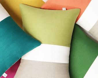 Summer Colorblock Pillow Covers, Modern Decorative Pillows (Orange, Linden, Meadow, Sangria, Biscay, Yellow) by Jillian Rene Decor