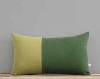 Green Linen Pillow Cover, Two Tone Colorblock Pillow Cover by JillianReneDecor, Minimal, Monochromatic, Scandinavian Inspired, Linden Meadow