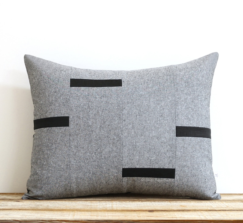 Black Chambray Dash Pillow Cover NEW Interconnection Pillows image 0