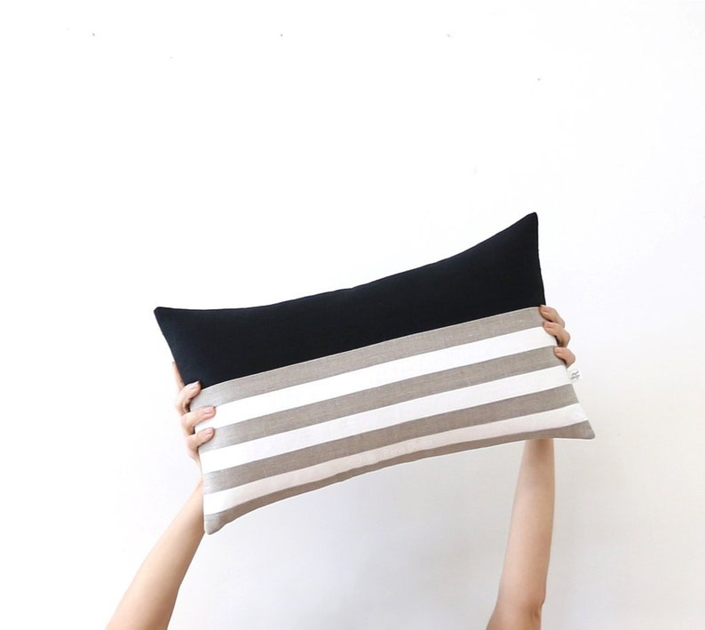 Striped Lumbar Pillow Cover in Black with Cream and Natural image 0