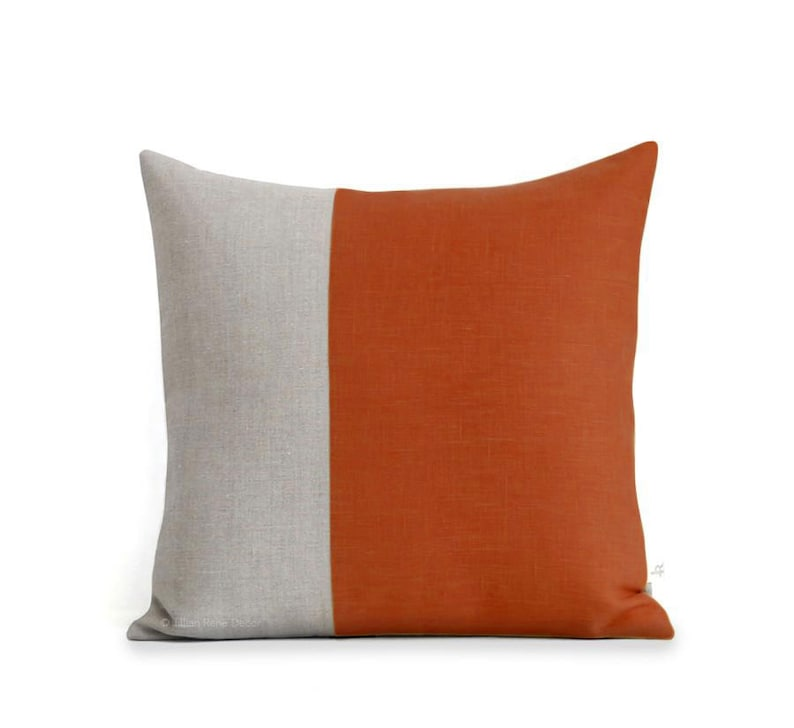 Minimal Linen Pillow Cover in Burnt Orange and Natural Linen image 0