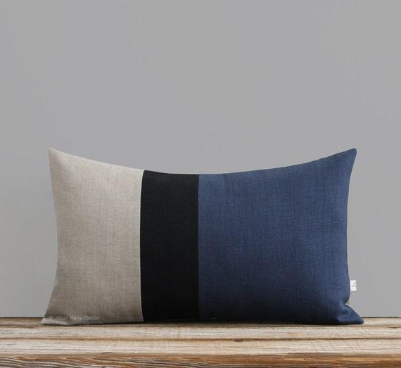 Lumbar Pillow Blue Grain Sack Navy