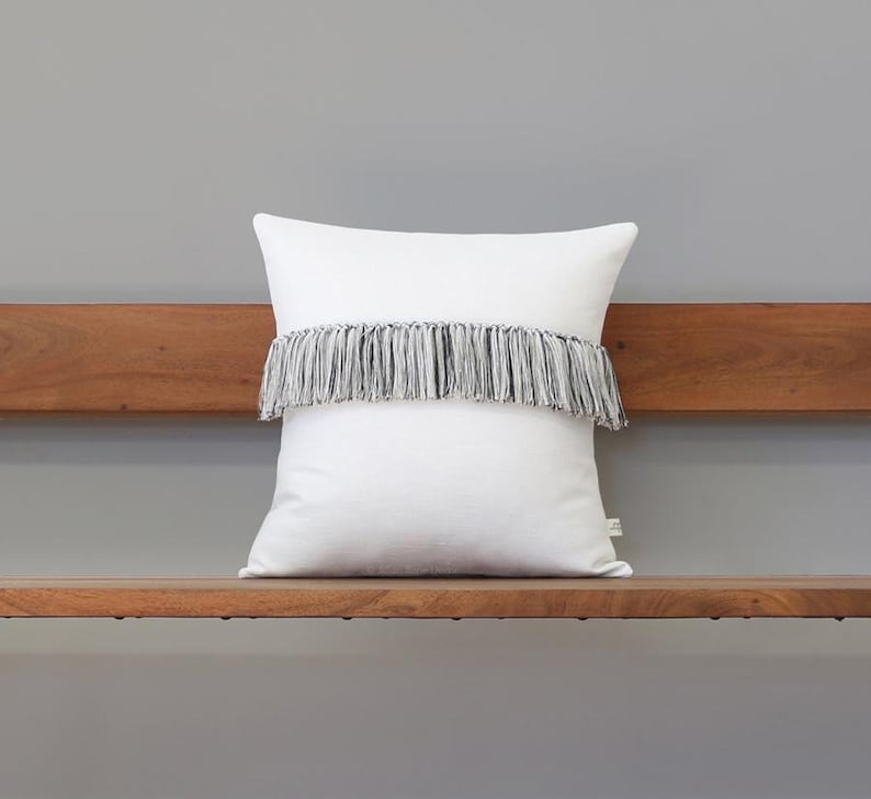 Cream Fringe Tassel Cushion Cover with Black Cream and 16x16 inches