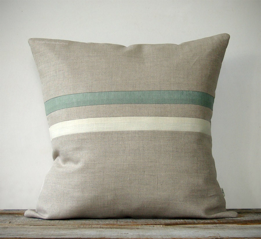 Sage And Cream Striped Pillow 16x16 Cottage Home Decor By