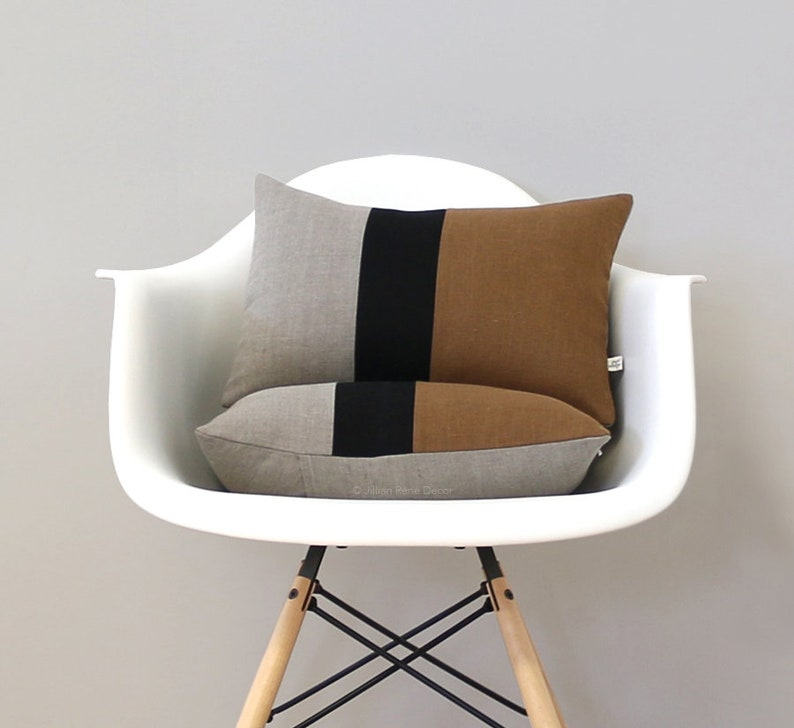 Caramel Colorblock Cushion Cover with Black Stripe Set of 2 image 0