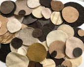 1 oz or 2 oz Felted Wool Circles Pre-shrunk Sweater Pennies Brown Ivory Die-Cut Dots Cashmere Merino