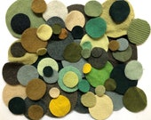 1 oz or 2 oz Various Sizes Green Circles Felted Wool Dots Die-Cut Fabric Cashmere Pennies