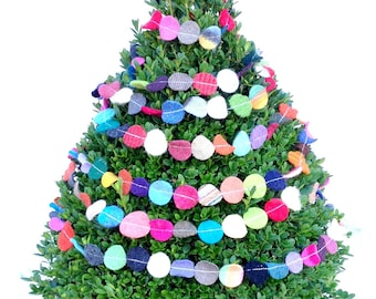 Folk Art Christmas Garland- 1 inch circles - 9 feet of multicolor felted recycled wool dots string - perfect teacher gift