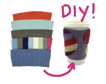DIY Wool Coffee Cozies - 5 Felted Sweater Blanks - Coffee Sleeves Kit- Make your own gifts!